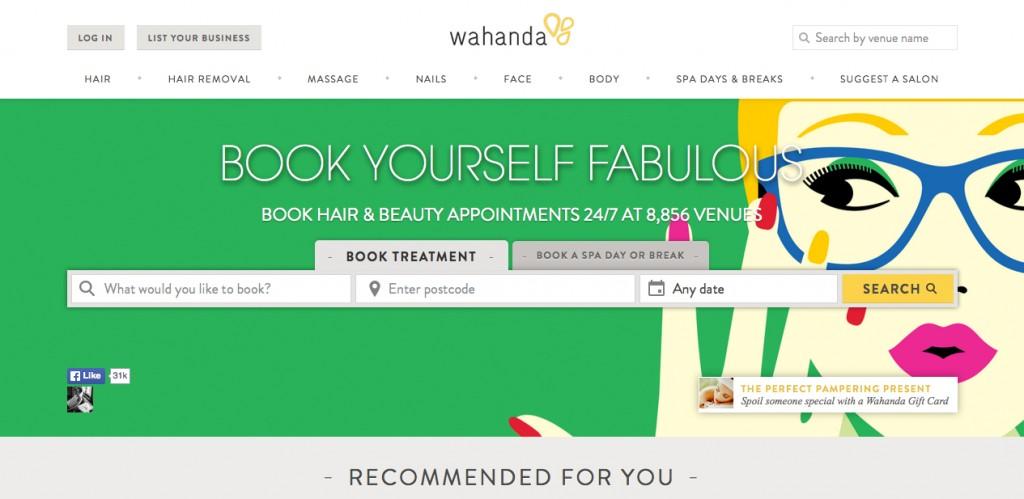 Wahanda's website - before the rebrand